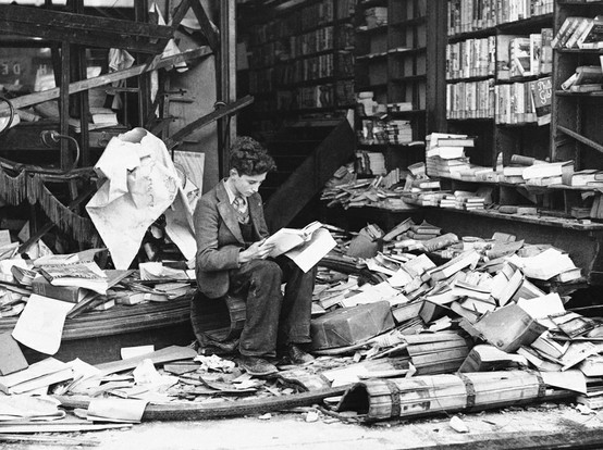 reading in the rubble
