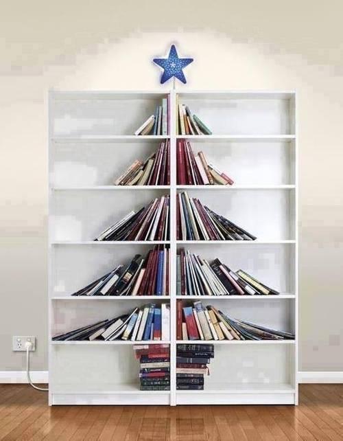 Bookcase Christmas Tree